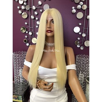 """Ice Blond Hair Swiss Lace Front Wig 22"""" 
