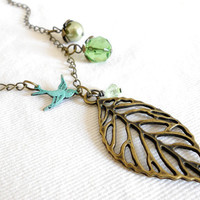 A PIECE of WOODLAND Filigree Leaf Necklace