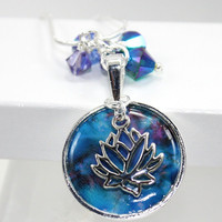 Lotus Charm with Blue Ethereal Cloud Cluster Pendant with Sarovski Crystals
