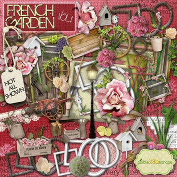 French Garden Vol 1 - Digital Scrapbook Kit and  FREE QuickPage