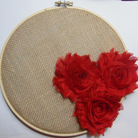 Red Flowers - Hoop Art