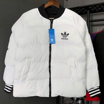 ADIDAS Clover autumn and winter models for men and women couples can wear warm cotton clothes on both sides White