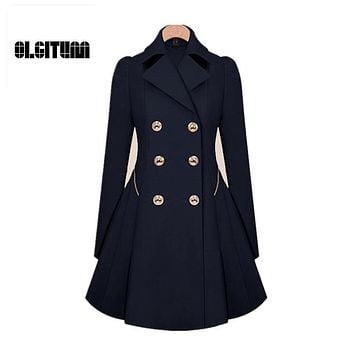 Trench Coat Womens Coat Classic waist was thin coat Windbreaker Women Trench  Female Long Sleeve Overcoat W054