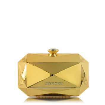 Moschino Designer Handbags Love Moschino Gold Metal Clutch