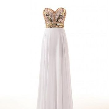 Changjie Women's Sweetheart Beaded Chiffon Prom Dresses Formal Evening Gown CJ33