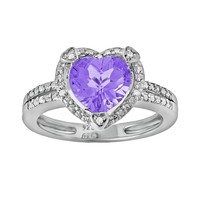 Sterling Silver Amethyst & Diamond Accent Heart Frame Ring (Purple)