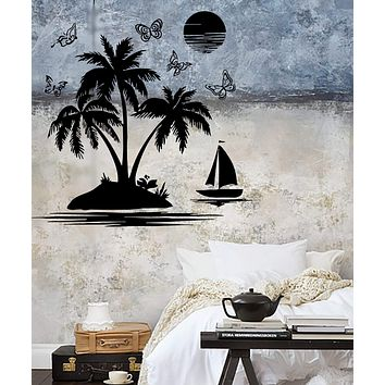 Vinyl Decal Wall Sticker Palm Beach Island Relax Tropical Beach House Vacation Decor Unique Gift (ig505)