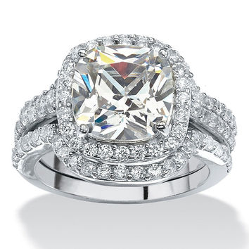 Victoria Wieck  Cut 8mm AAA CZ Diamond 10KT White Gold Filled Tini Stone Lovers 3-in-1 Engagement Wedding Ring Set