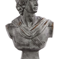 Fiberstone Greek Deity Apollo Bust on a Pedestal