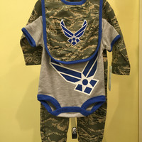Baby / Infant / Toddler 3pc Abu Air Force Bib, Outfit & Crawler Gift Set