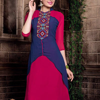 Royal Georgette Blue And Deep Pink Kurti With Embroidery Work