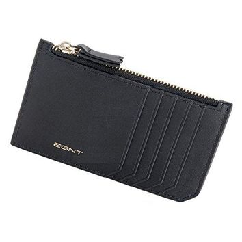 EGNT Womens Mens Luxe Multi Card Case Wallet with RFID Blocking Minimalist Zipped Pocket