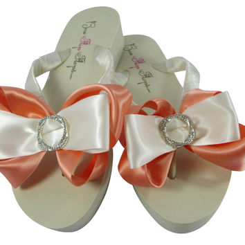 Peach Accent Infinity Circle Flip Flops with Wedges & Wedding Bows in Ivory or White