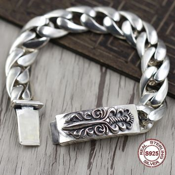 S925 Men's bracelet in Sterling Silver Personality trend domineering bayonet Punk style retro classic Send a gift to love