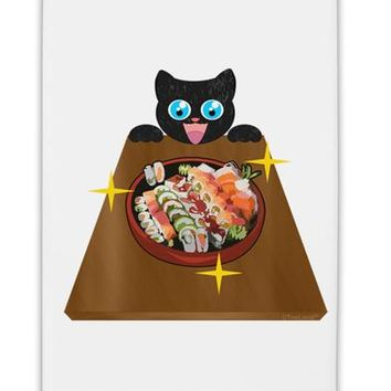 "Anime Cat Loves Sushi Fridge Magnet 2""x3"" Portrait by TooLoud"