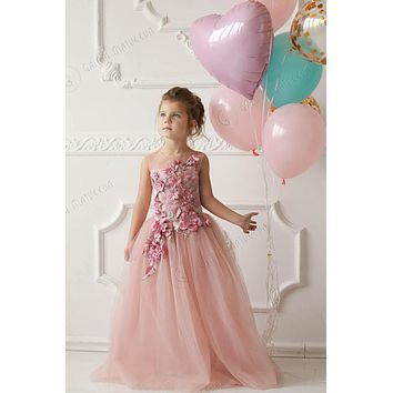 Fairytale 3d Flowers Blush Pink Soft Tulle Girl Sheer Flower Girl Little Princess Gown