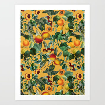Floral and Fruit pattern II Art Print by burcukorkmazyurek