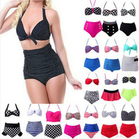 RetroPinup Swimwear Rockabilly Vintage High Waisted Swimwear Swimsuit Push Up Bathing Suit