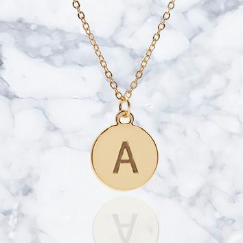 """#16430G - Weiss Initial Necklace Available in Any Letter of the Alphabet - Adjustable from 18""""-21"""""""