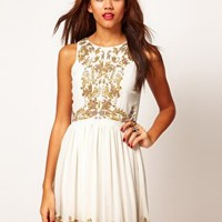 River Island Beaded Embellished Skater Dress at asos.com