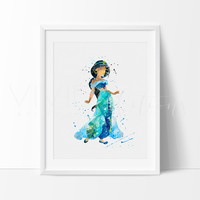 Princess Jasmine 3, Aladdin Watercolor Art Print