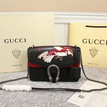 GUCCI Women Shopping Leather Metal Chain Crossbody Satchel Shoulder Bag H-MYJSY-BB