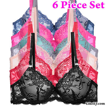 6pcs of Floral lace pattern Extra coverage Lace overlay cup Bra # 91123