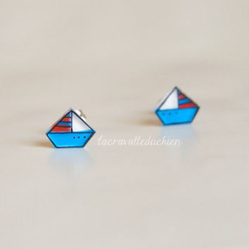 Sail boat earrings, Nautical Earrings Studs, illustrated jewelry