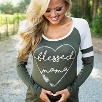 Army Green Love Print Maternity Pregnant Woman Round Neck Long Sleeve T-Shirt