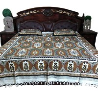 Boho Bedspread Tapestry Indi Hippie Bedding Mandala Cotton Queen 3p Set