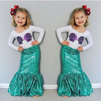 PEAPUNT 2016 Autumn2 Pieces Set Tshirt And Mermaid Tail Kid Halloween Costume Super Cute Shell Print Flora Striped Baby Girl Cos002