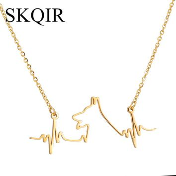 SKQIR News Jewelry Love Dogs And Medical Heartbeat Pendant Stainless Steel Gold Silver Color Animal Necklaces For Women Gift