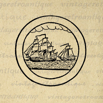 Antique Ships Image Digital Graphic Boat Circle Design Download Printable Vintage Clip Art for Transfers Printing etc HQ 300dpi No.2114
