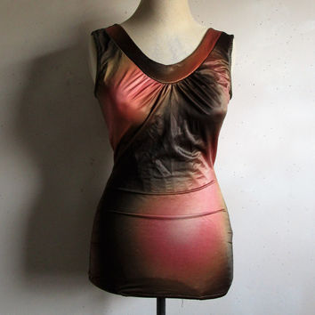 Vintage 1960s Swimsuit CAMP Rose Brown Ombre 1 pc Bathing Suit 34B