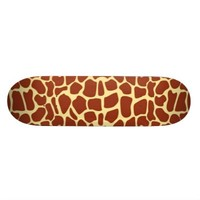 Brown Giraffe Print Fabric Skateboard Deck