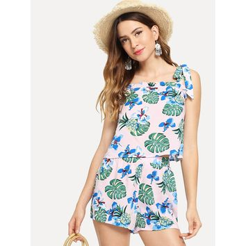 Multicolor Knot Shoulder Tropical Top And Shorts Co Ord