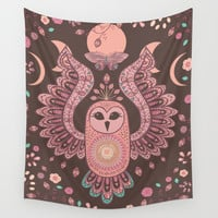 The Owl, The Moon & The Butterfly Wall Tapestry by Bohemian Gypsy Jane
