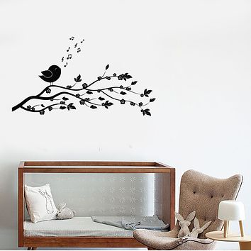 Vinyl Wall Decal Cartoon Tree Branch With Flowers Songbird Stickers (3795ig)