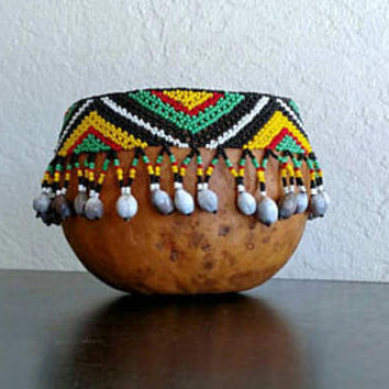 African Gourd Bowl / Folk Art / Hand Carved / Seed Beads / Home Decor / Gourd Art / Earthtones / Beadwork /  Art Bowl /