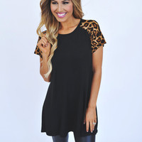 Black Leopard Shoulder Tunic