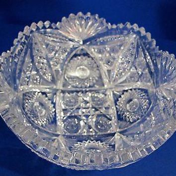 "American Brilliant Period hand Cut Glass Antique  8"" bowl ABP, Wedding gift"
