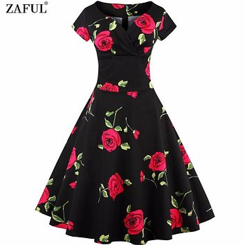 ZAFUL Women Vintage 50s Dress Rockabilly Swing Retro Rose Floral Femino Vestidos Ball Gow Party Prom 60s Plus Size Cotton Dress