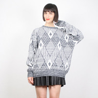 Vintage Gray Sweater Cosby Sweater Pullover Jumper Geometric Southwestern Knit Slouch Slouchy Sweater Charcoal Gray White L XL Extra Large