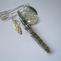 Best Friend Gift Brooch Bag Clip Silver friendship Pin Sparkly Charm birthday