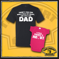 Dad & Daughter Shirt Set - T-Shirt - Daddy Daughter - There's This Girl Who Stole My Heart - Calls Me Dad - Father's Day - New Baby - Shower