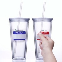Cupture® Classic Insulated Double Wall Tumbler Cup with Lid, Reusable Straw & Hello Name Tags - 24 oz, 2 Pack (Clear)