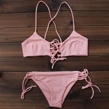 Womens Sexy Pink Bikini Swimsuits Two Pieces + Free Shipping
