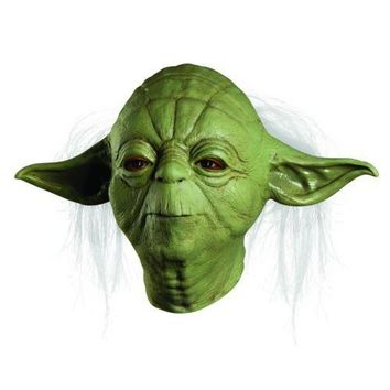 Party Mask Star Wars JedtI Yoda Deluxe Overhead Hallween Costume Latex Mask Adult Movie TV Mask One Size