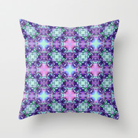 Purple and Turquoise Fractal Art Throw Pillow by Hippy Gift Shop
