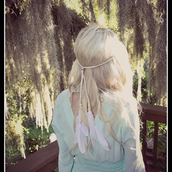 Feather HeadBand, Native American, wedding, bridal headband, boho headband, feather wedding, feather, feather veil, hippie headband